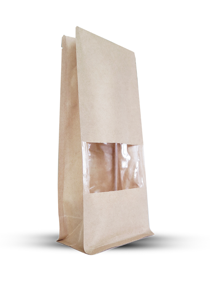 Brown Kraft Papers Flat Bottom Bag With Window