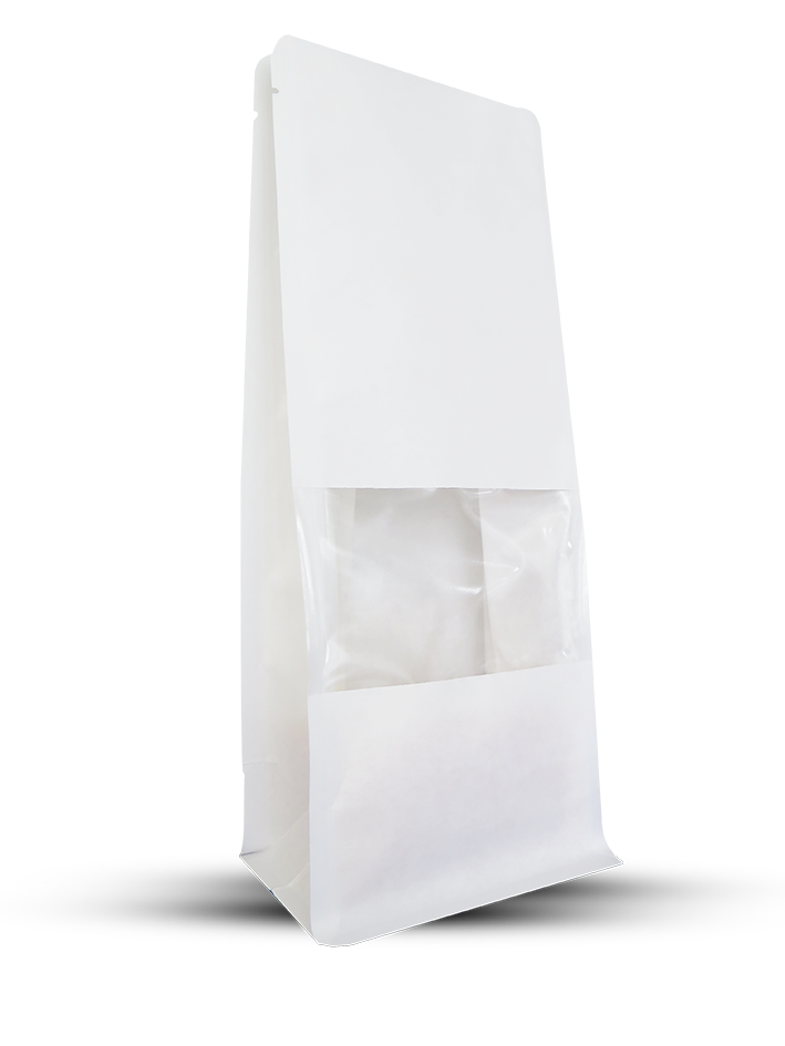 White Kraft Papers Flat Bottom Bag With Window